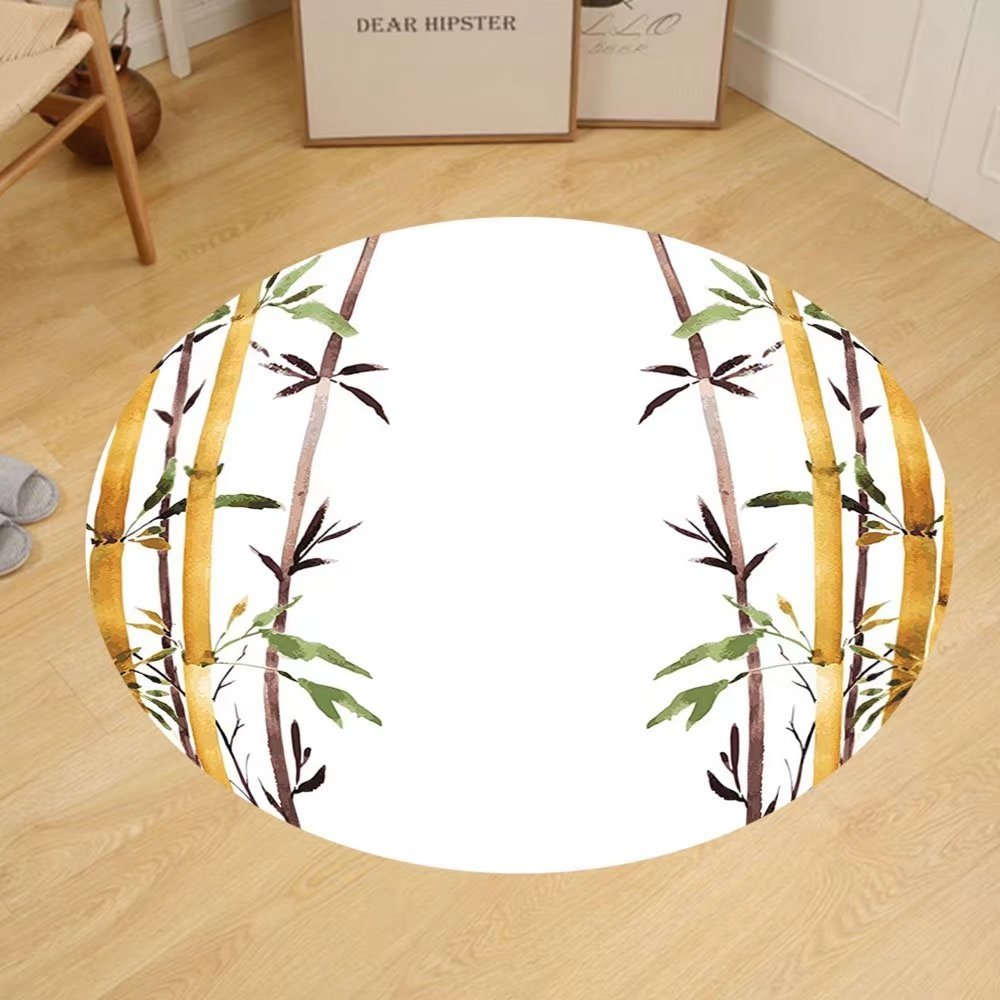 Gzhihine Custom round floor mat Bamboo House Decor Bamboo Leaf Icon for Wellbeing Health Fresh Purity Tranquil Art Print Bedroom Living Room Dorm Decor Green White