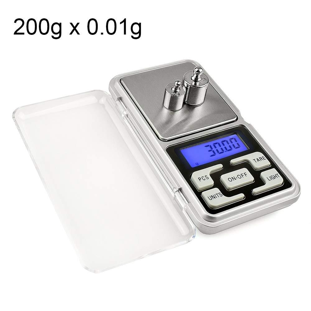 Xiaochou@sl Bilancia mobile portatile digitale elettronica portatile di alta precisione da 200g x 0.1g con schermo LCD da 1.6 pollici, dimensioni: 12.0 * 6.2 * 2.0cm Portatile
