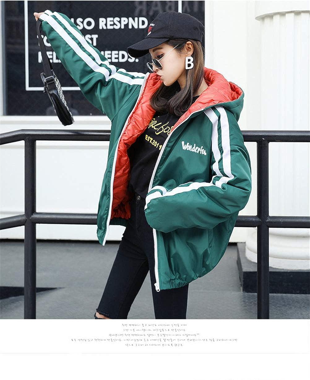Qikaka Womens Fashion Winter Warm Hoodie Ribbon Back Patch Casual BF Style Thicken Cotton Coat Jacket Outwear