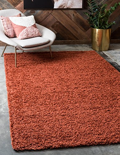 Unique Loom Solo Solid Shag Collection Modern Plush Terracotta Rectangle (9' x 12')