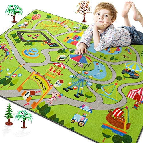 Rostyle Kids Play Rugs for Playroom, Toddler Kids Carpet with Non-Slip Bottom Children's Playground Learning Area Rug, Bedroom Classroom Play Mat Ideal Gift for Boys Girls Children, 4 x 5.9 Feet