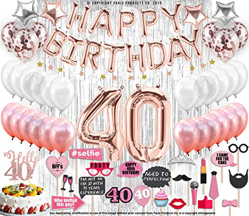 40th Birthday Decorations with Photo Props Party Supplies 40th Birthday Balloons| Rose Gold Confetti Balloons| Hello 40 Cake Topper Silver| Metallic Silver Curtain for Photo Booth Props| Forty Bday
