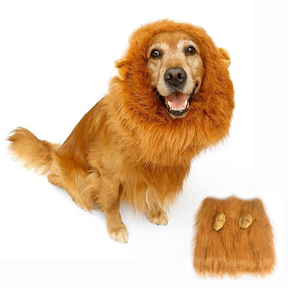 Lion Mane Costume for Dog Bukm Cute Lion Wig Hats for Medium to Large Sized Dogs Pet Festival Cosplay Party Fancy Hair Dog Clothes