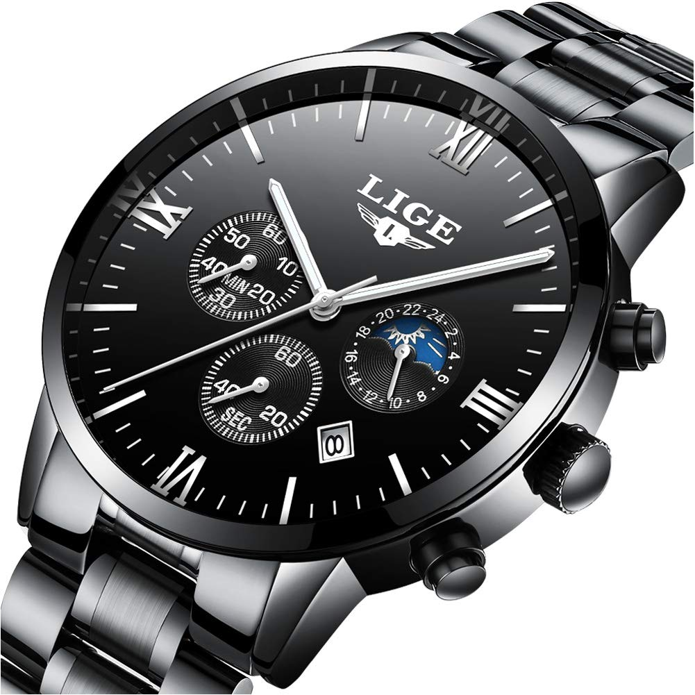 LIGE Waterproof Watches Men Chronograph Sport Analog Quartz Watch Man Fashion Date Black Stainless Steel Wristwatch
