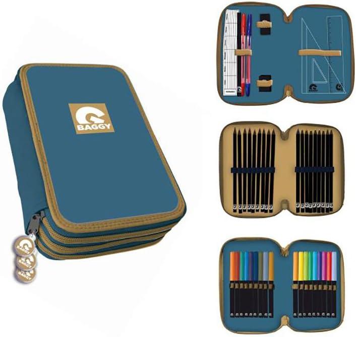 Baggy Estuche Plumier 3 Pisos con Material Escolar Completo, Color Azul (Astro AST3019): Amazon.es: Juguetes y juegos