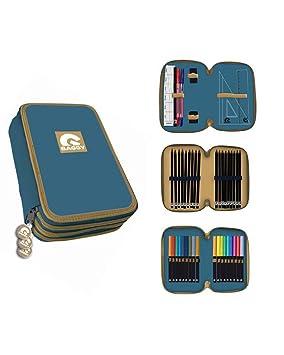 BAGGY- Estuche Plumier 3 Pisos con Material Escolar Completo, Color Azul (Astro AST3019)