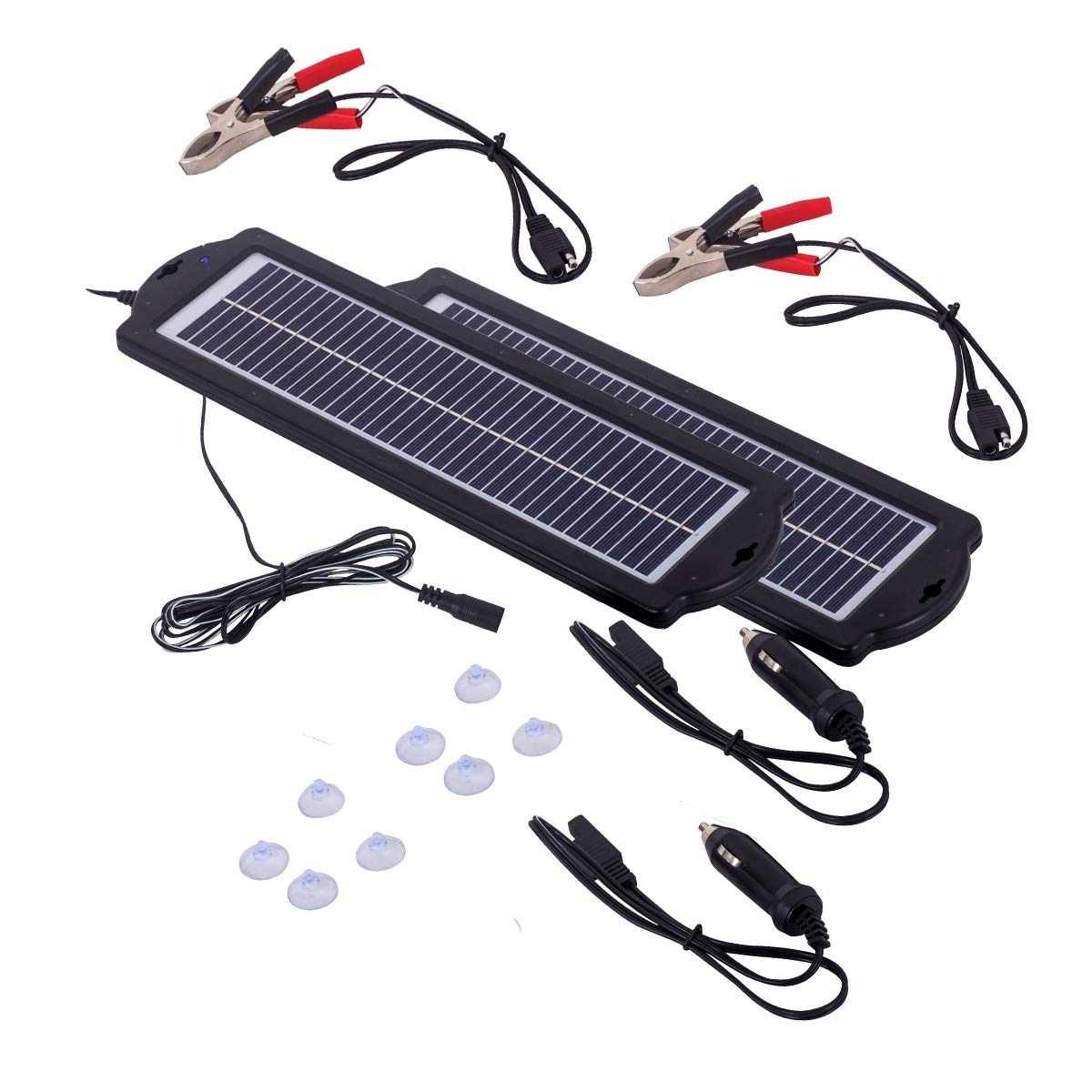 MEGSUN 3W 12V Car Battery Trickle Charger (2 Pairs) Waterproof Portable High Conversion Mono Solar Panel with Cigarette Lighter Plug,Battery Charging Clip Line,Suction Cups for Rv Motorcycle Boat by M MEGSUN