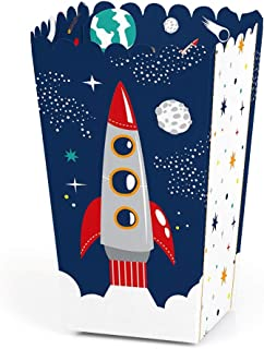 product image for Blast Off to Outer Space - Rocket Ship Baby Shower or Birthday Party Favor Popcorn Treat Boxes - Set of 12