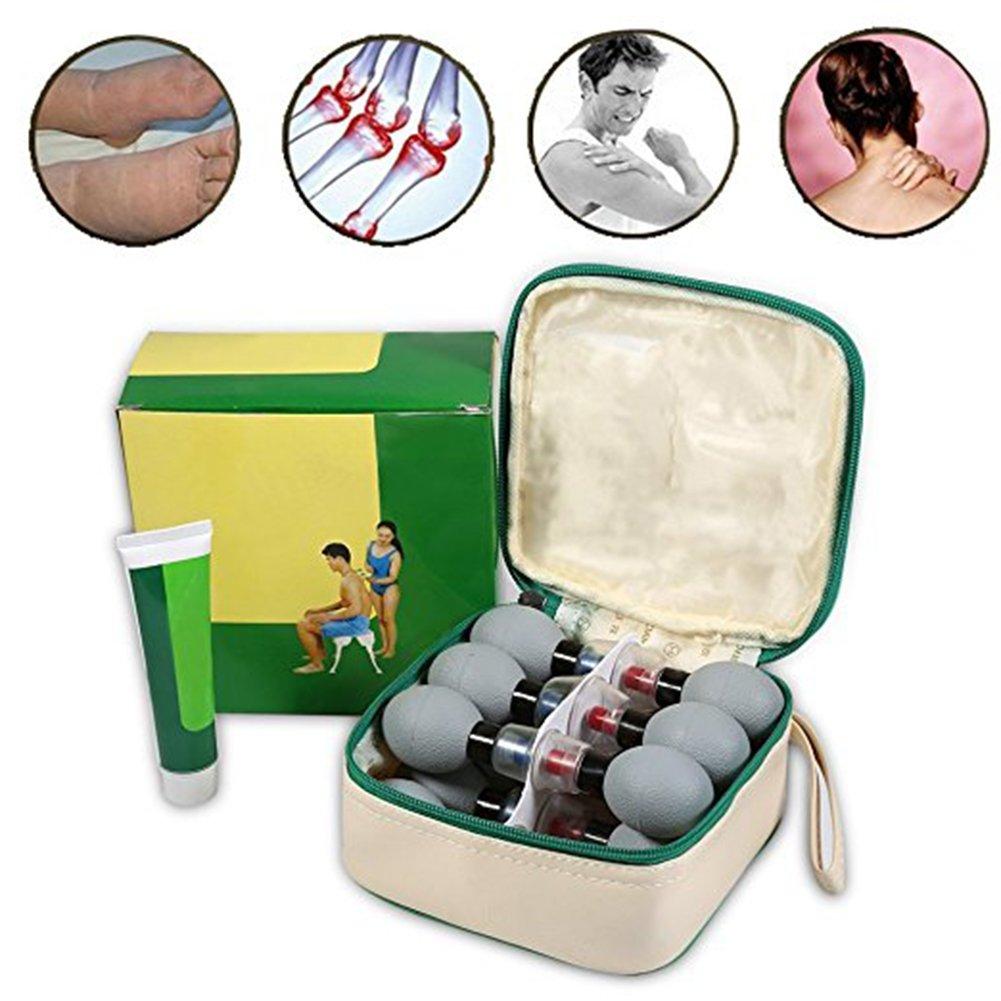 LanLan Coppettazione Silicone Cupping Set, 18 PZ Silicone Massaggio Coppettazione Coppe Massaggiatore Anti Cellulite Vuoto Coppe