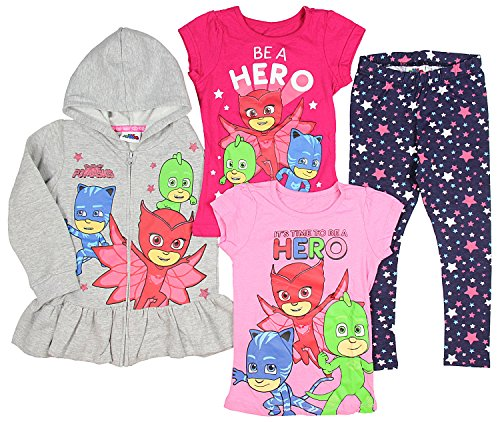 Happy Threads PJ Masks Girls' Hoodie With 2 T-Shirts and Pants Ultimate Clothing Pajama Set (7) Happy Threads