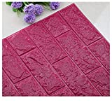 PE Foam Wallpaper,DIY 3D Brick Panels Room Decal Stone Decoration Embossed Wall Adornment (H)