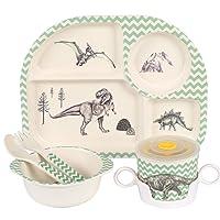 Shopwithgreen 5Pcs/Set Bamboo Kids Dinnerware Set - Children Dishes - Food Plate...