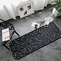 Creative Modern Wide Runner Area Rug Anti-slip Microfiber Door Bathroom Bedside Mat Mildew Resistant Non Toxic Eco-Friendly No Odor For Home Dorm or Apartment Decor HRG01-US # Constellation