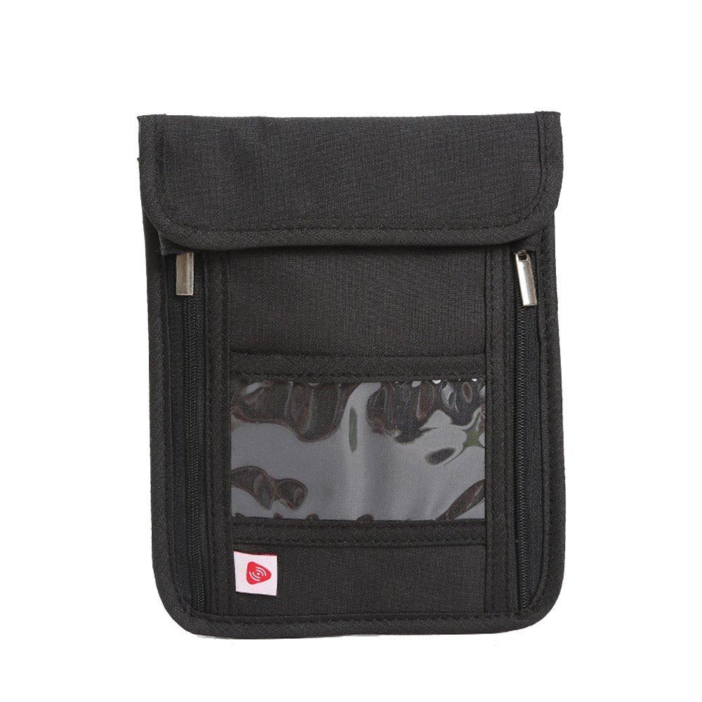 RFID anti-theft folder,travel passport bag, multifunctional hanging neck bag black