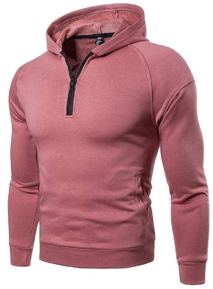 YYG Mens Casual Solid Color Half-Zip Hooded Sweatshirt Hoodie Pullover Coat