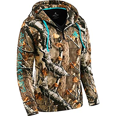 Legendary Whitetails Ladies Power Half Zip Hoodie Big Game Field Camo XX-Large