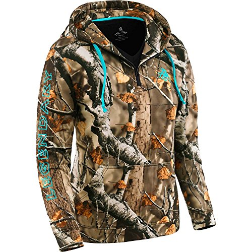Legendary Whitetails Ladies Power Quarter Zip Hoodie Big Game Field Camo Medium
