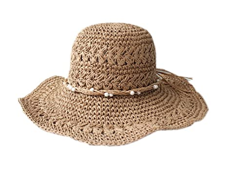 e9893d0d8d15b Image Unavailable. Image not available for. Color  Chic Beading Straw Hat  for Women Summer Sun Protection ...
