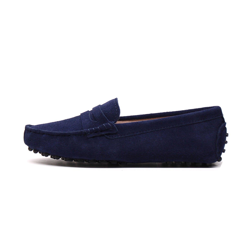 2018 New Women Flats Genuine Leather Driving Shoes Summer Women Casual Shoes B07DV62M54 8 B(M) US|Dark Blue
