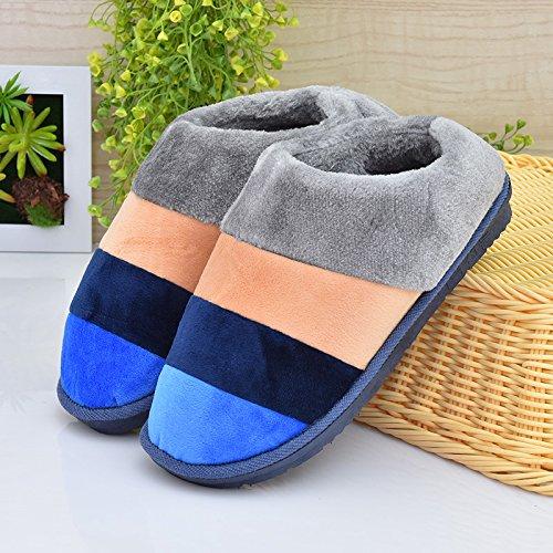 Fankou inverno pacchetto comfort con Dot scarpe di cotone uomini e donne paio di pantofole di cotone home pianale interno caldo ,39-40, striped pacchetto con viola