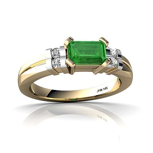 14kt Gold Emerald and Diamond 6x4mm Emerald_Cut Art Deco Ring