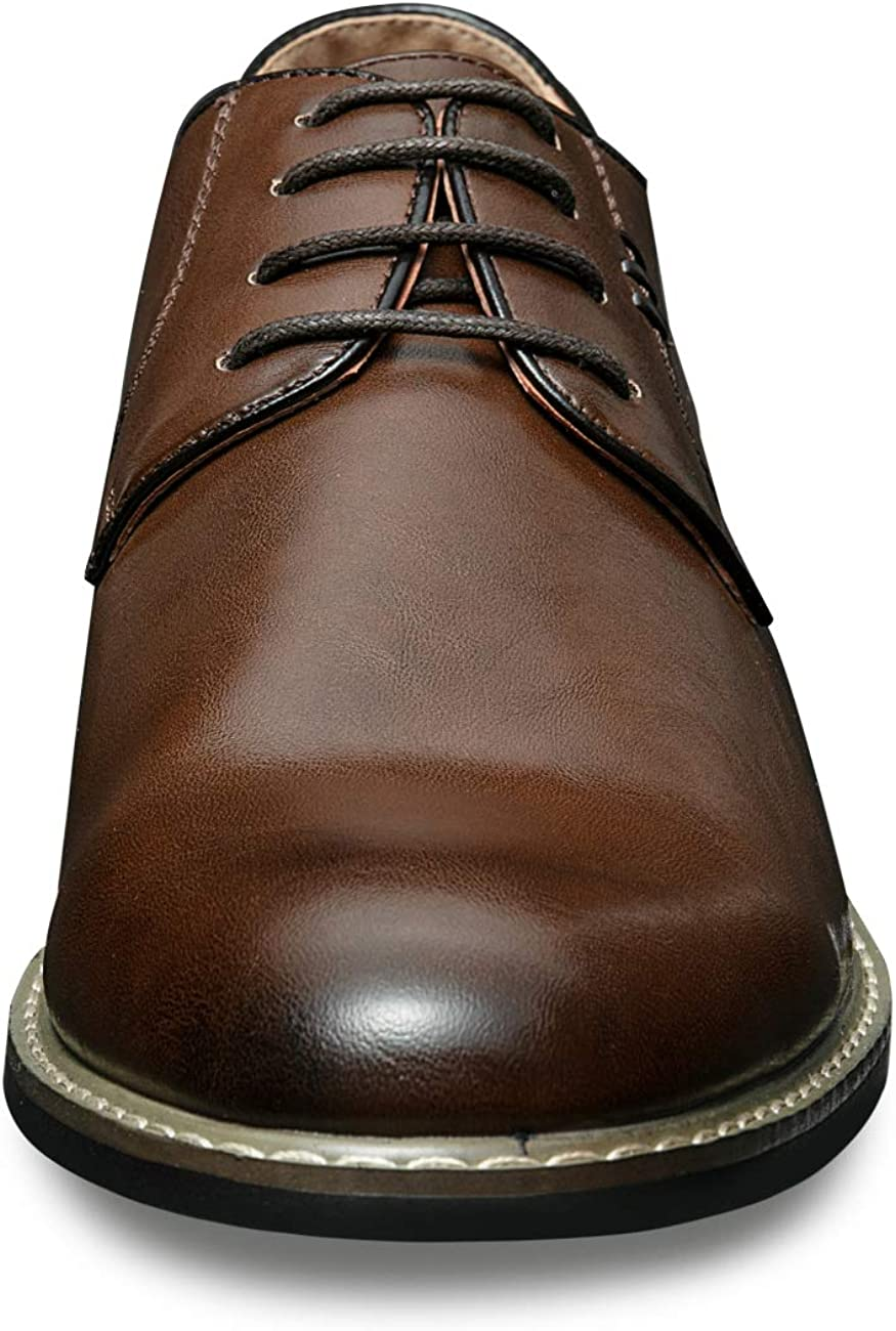 ZRIANG Mens Dress Shoes Cap Toe Brogue Leather Lined Lace-up Oxfords
