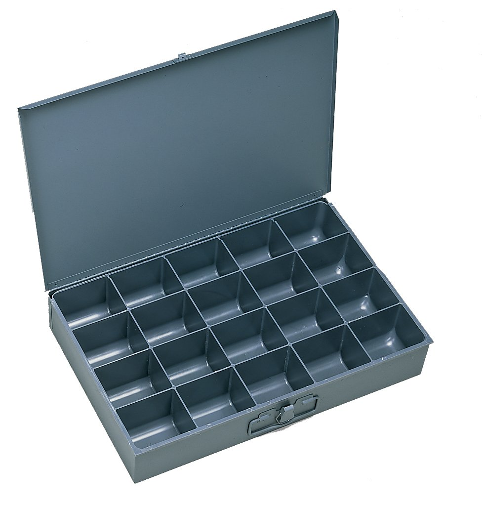 Durham 111-95-IND Gray Cold Rolled Steel Individual Large Scoop Box, 18'' Width x 3'' Height x 12'' Depth, 20 Compartment