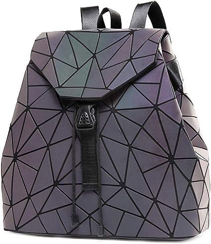 DIOMO Geometric Lingge Women Backpack Luminous Flash Men's Travel Shoulder Bag Rucksack