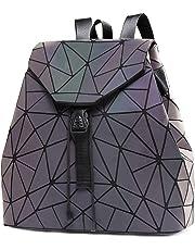DIOMO Women Backpack Luminous Geometric Plaid Sequin Backpacks Drawstring Bag Fashion Backpack