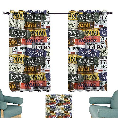 DONEECKL Decorative Curtains for Living Room USA Retro American Auto License Plates Utah Washington Rhode Island North Carolina Print Blackout Draperies for Bedroom Window W63 xL72 Multicolor