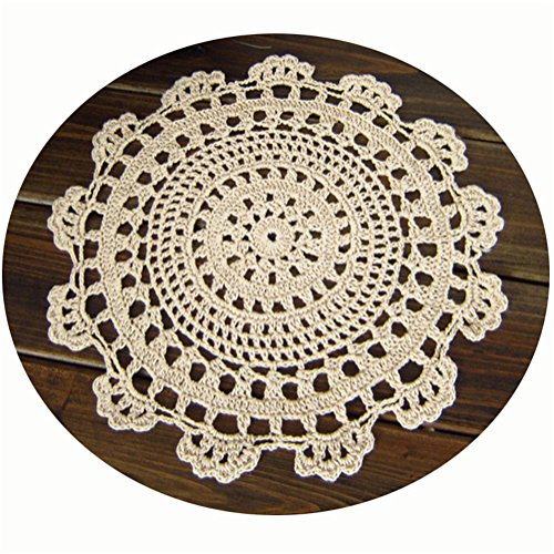 VOBAQI 6 10 12 18 1pc Handmade Round Flower Woven Crochet Cotton Lace Table Place Mats Doilies (12in, Beige)