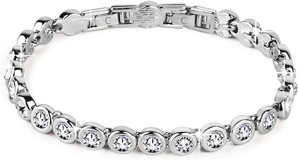 "Conmisun Cubic Zirconia Tennis Bracelet for Women, Round Cut Swarovski Crystals Men Bracelets White Gold Plated Jewelry Gifts for Girls 6.5""+1"""