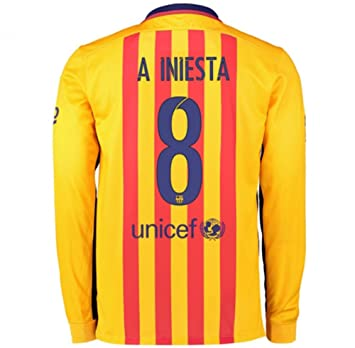 NIKE FC Barcelona A. INIESTA  8 2015-2016 Long Sleeve Away Stadium Soccer e02408d11ee