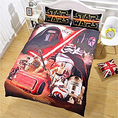 Jameswish Star Wars Duvet Cover For Boys 2018 New Design Star Wars Kids Bed Cover Heavy-Duty 3-Piece Including 1Duvet Cover 2Pillowshams Linen Bedding King Queen Full Twin Size