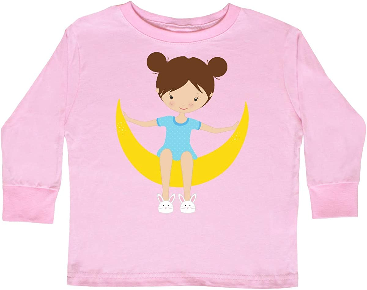 Girl Sitting on The Moon Toddler Long Sleeve T-Shirt inktastic Girl in Pajamas