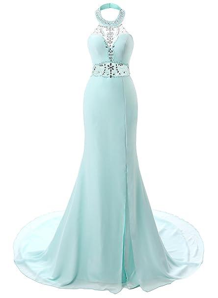 ASVOGUE Mujer Vestido de Fiesta Apertura Lateral con Adorno Diamantes Falso, Azul Claro XXXXL