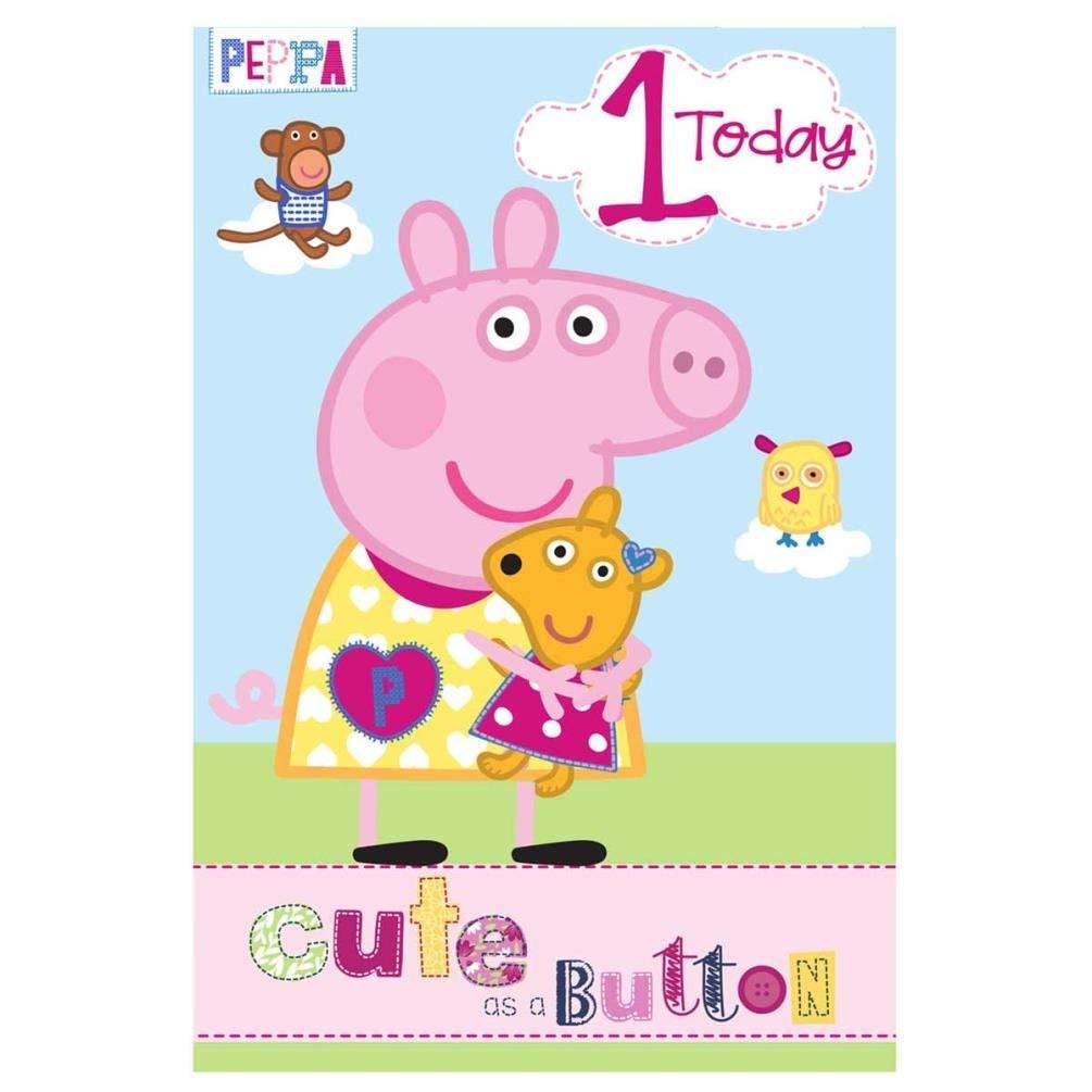 Peppa Pig 1 Año Tarjeta Cumpleaños: Amazon.es: Hogar