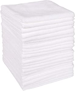 """Wipela (24-Pack) 350gsm 15.7"""" x15.7"""" Microfiber Cleaning Cloth Clean Kitchen, Household, Automobile and Furniture for dust Removal, scrubbing, polishing and Drying (White Color)"""