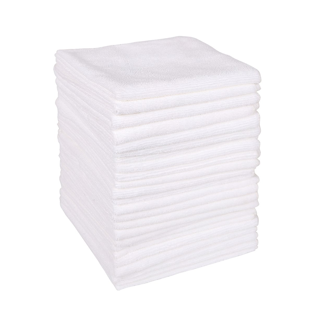 Wipela (24-Pack) 350gsm 15.7'' x15.7'' Microfiber Cleaning Cloth clean kitchen, household, automobile and furniture for dust removal, scrubbing, polishing and drying (White Color)