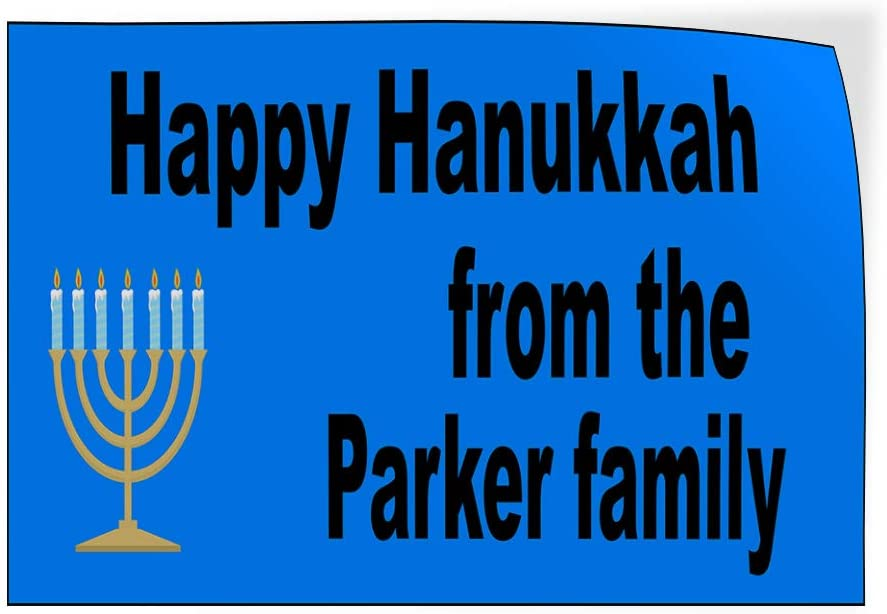 Custom Door Decals Vinyl Stickers Multiple Sizes Happy Hanukkah from The Name Family Holidays and Occasions Happy Hanukkah Signs Outdoor Luggage /& Bumper Stickers for Cars Blue 60X40Inches Set of 2