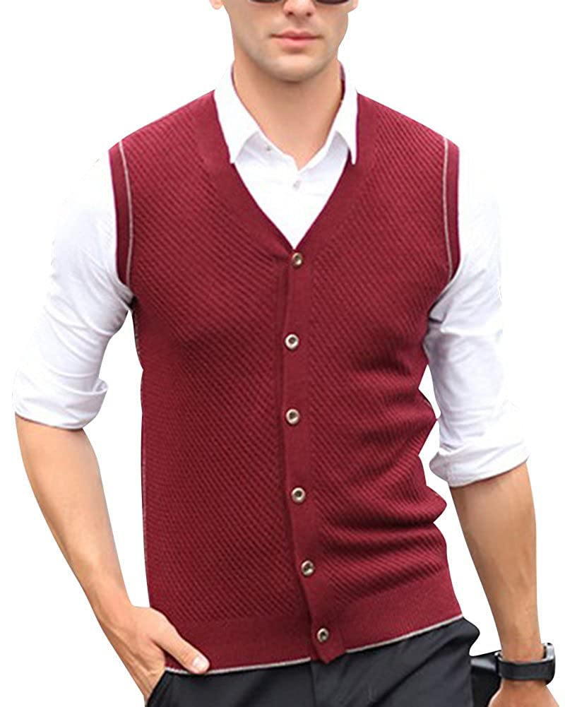 Anyu Mens V-Neck Gilet Sleeveless Vest Waistcoat Business Gentleman Knitwear Cardigans Knitted Sweater Tank Tops
