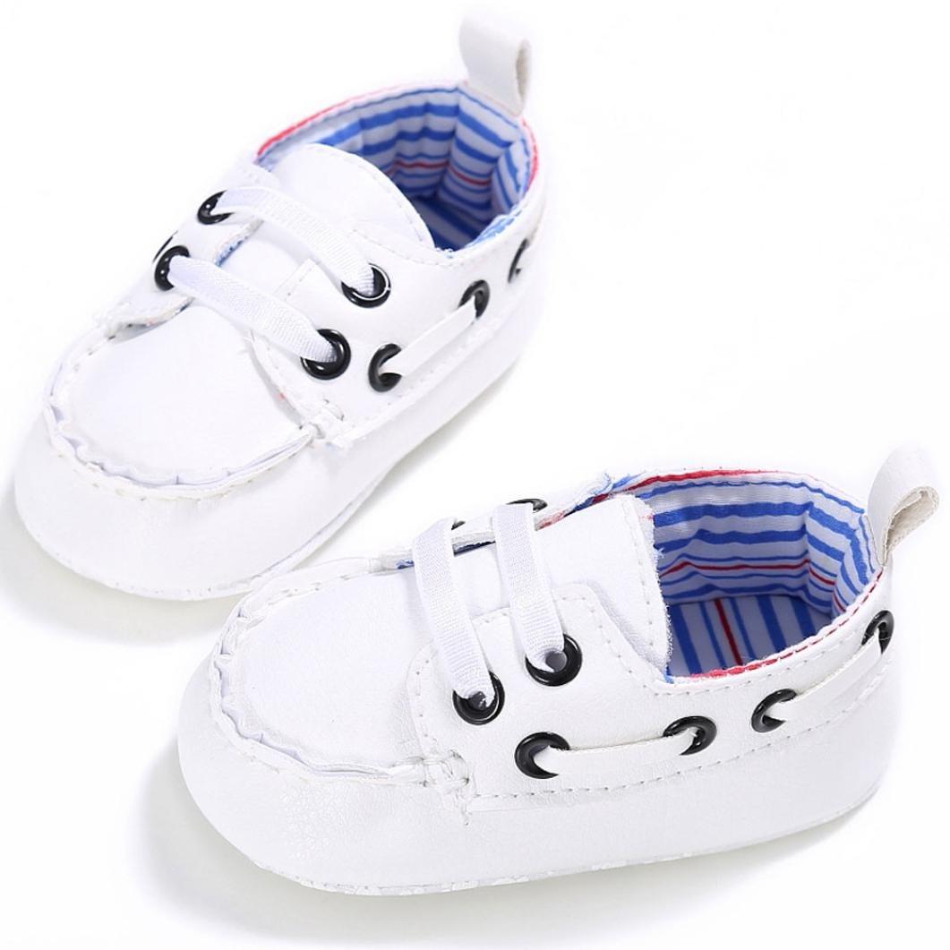 pour 0-18 mois Bébé, Amlaiworld Bébé Chaussures garçon fille berceau en cuir Espadrilles à semelles molles (11/0-6 mois, Blanc)