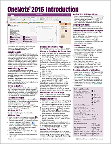 Onenote 2016 Introduction Quick Reference Guide   Windows Version  Cheat Sheet Of Instructions  Tips   Shortcuts   Laminated Card