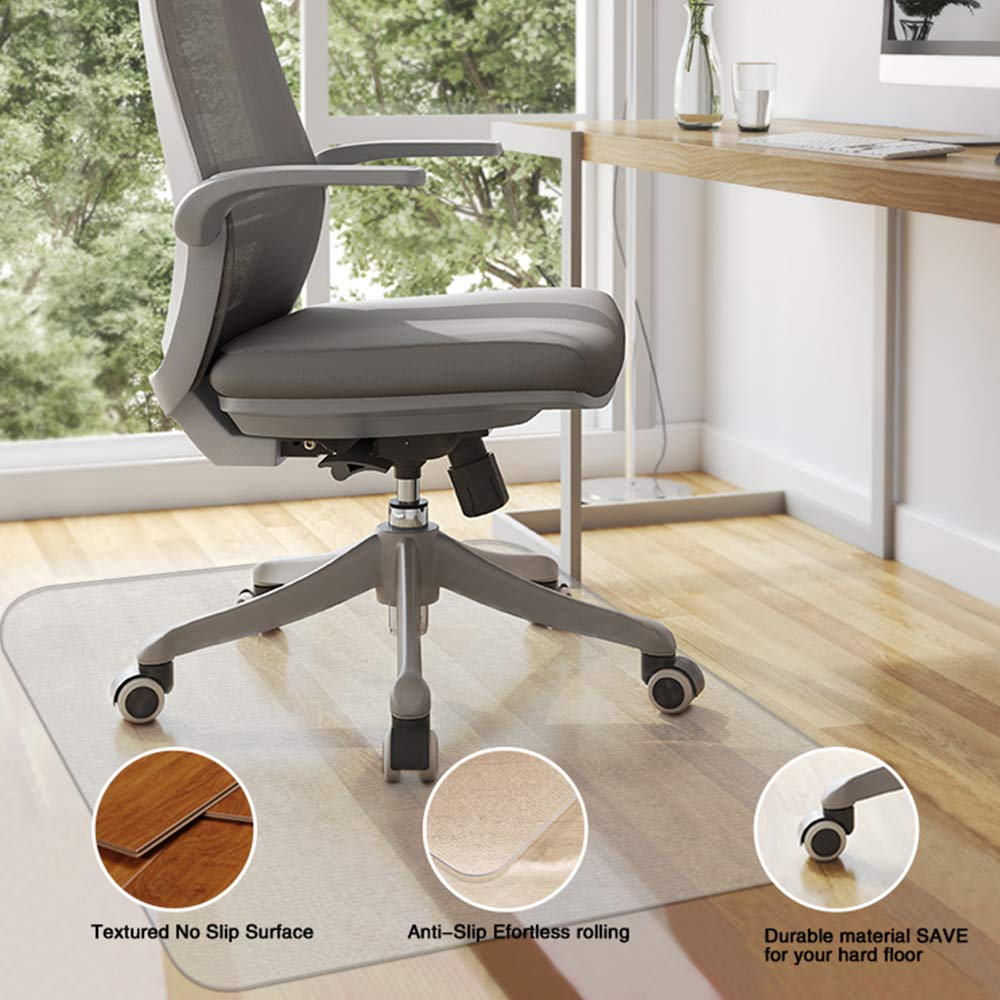 Office Chair Mat 48''×40'' for Hardwood Floor,Non Toxic and BPA Free Clear Thick Mat