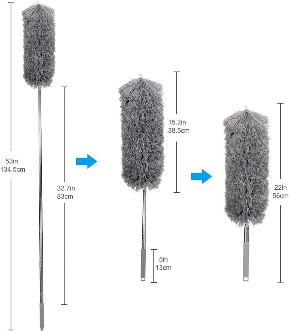2 PCS Duster d/étachable et pliable en microfibre plumeau extensible plume avec poteau t/élescopique en acier inoxydable pour de hauts plafonds Bleu