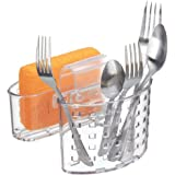 MetroDecor mDesign Kitchen Organiser for Sink – Strong Plastic Double Sided Sink Caddy – Sink Tidy Perfect for Cutlery and Sponges – Clear