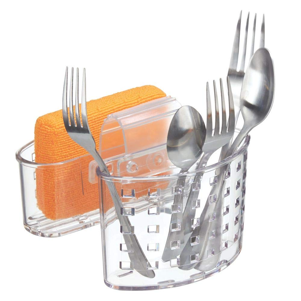 Sink Tidy Perfect for Cutlery and Sponges MetroDecor mDesign Kitchen Organiser for Sink Strong Plastic Double Sided Sink Caddy Clear