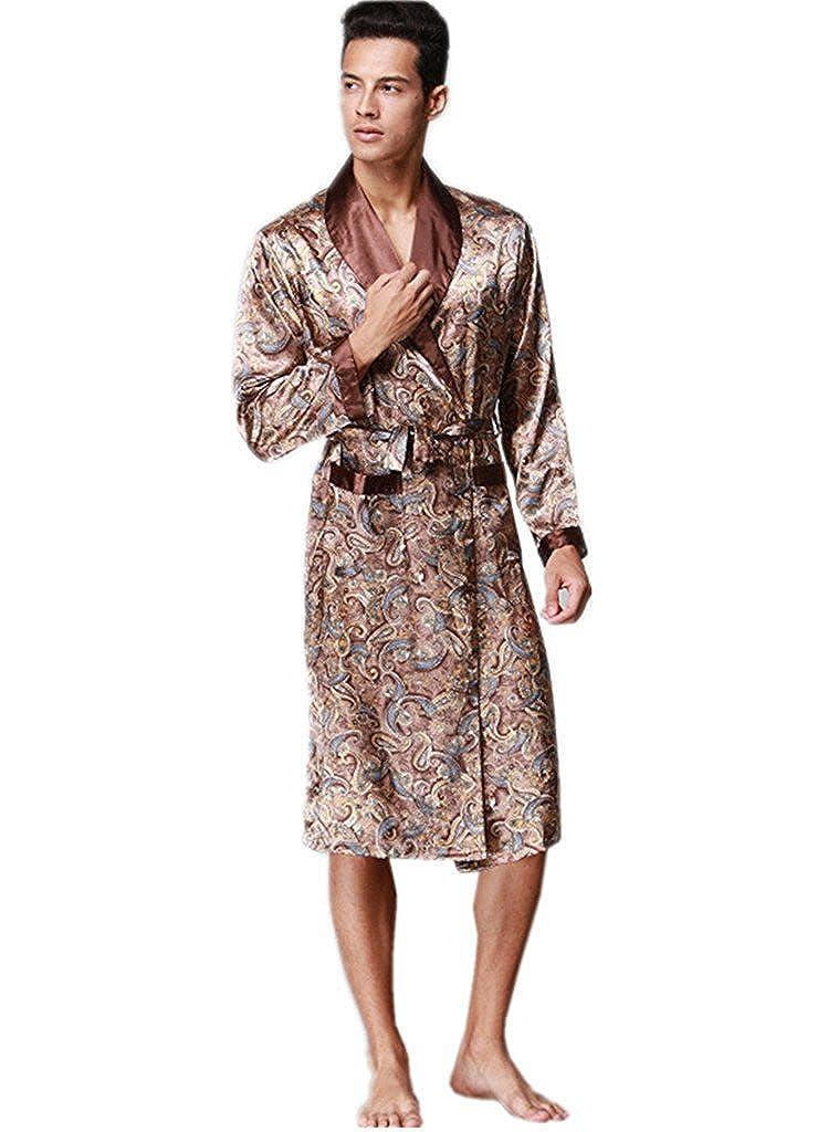 Mens Silk Nightwear Bath Robes Short Kimono Robes Dragon Pattern