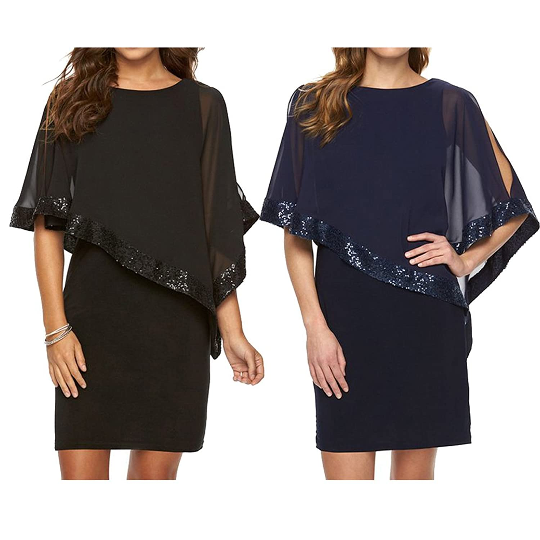 Kleider Damen Paillettenkleid Glitzer Bolero Knie Lang Abendkleid O ...
