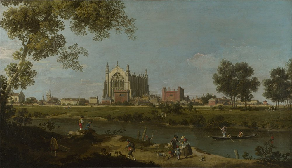 'Canaletto Eton College ' Oil Painting, 24 X 42 Inch / 61 X 106 Cm ,printed On High Quality Polyster Canvas ,this Imitations Art DecorativeCanvas Prints Is Perfectly Suitalbe For Laundry Room Decor And Home Decoration And Gifts